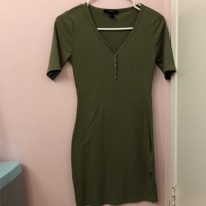 🌺 Olive Green Button Up Bodycon Dress